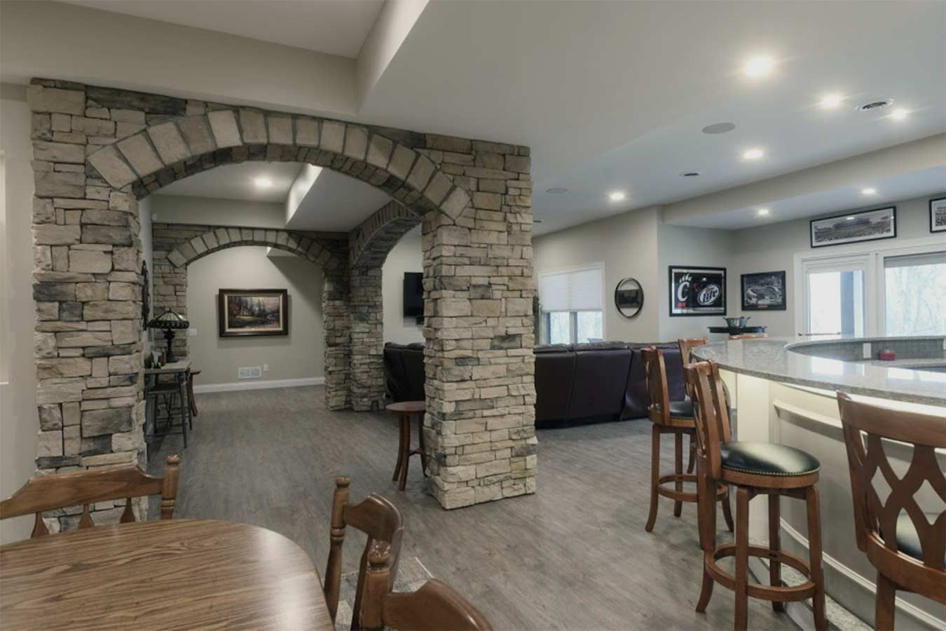 custom basement stone wall