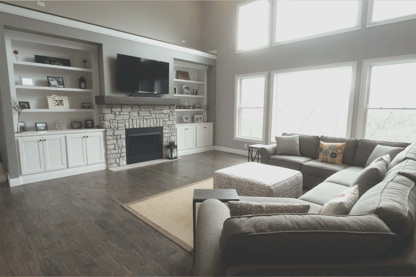custom home living room